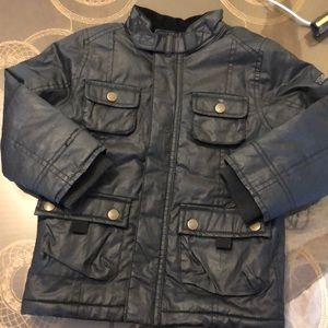 H&M black faux leather fleeced jacket